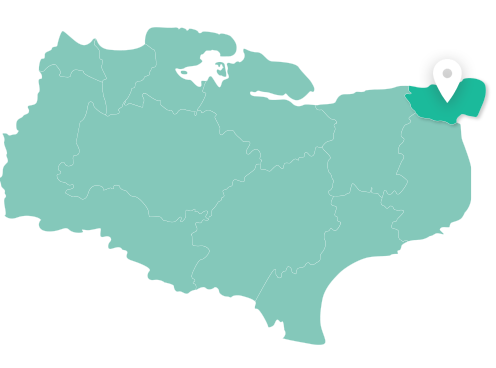 Map of Thanet within Kent