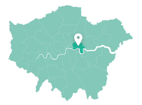 Map of Tower Hamlets within Greater London