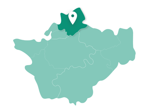 Map showing Warrington within Cheshire
