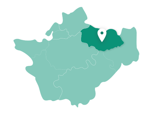 Map showing Wilmslow within Cheshire