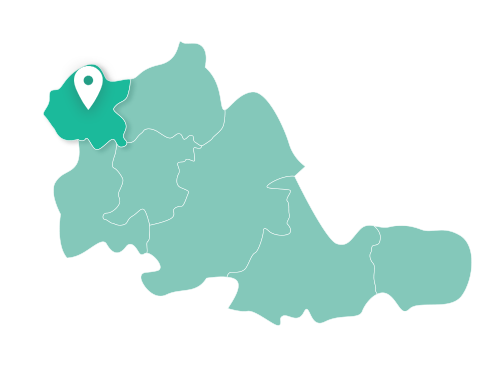 Map showing Wolverhampton within West Midlands