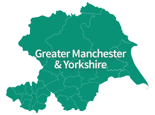 Map of Greater Manchester and Yorkshire