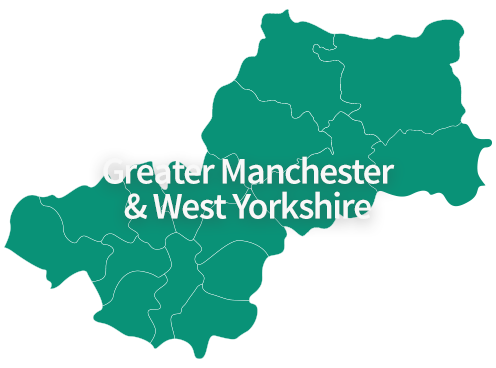 Map of Greater Manchester and West Yorkshire