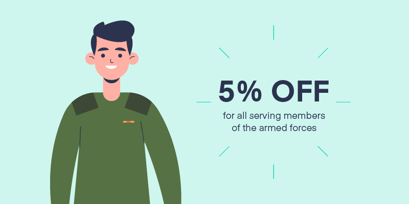 Cartoon of a member of the armed forces with text overlaid saying '5% OFF'.