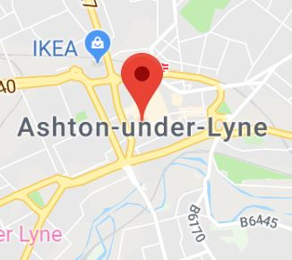 Cropped Google Map with pin over Ashton-Under-Lyne