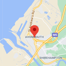 Cropped Google Map with pin over Avonmouth