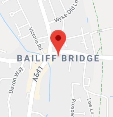 Cropped Google Map with pin over Bailiff Bridge