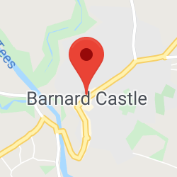 Cropped Google Map with pin over Barnard Castle