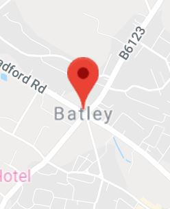 Cropped Google Map with pin over Batley
