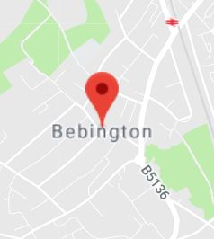 Cropped Google Map with pin over Bebington