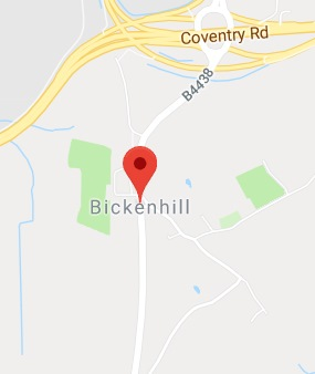 Cropped Google Map with pin over Bickenhill