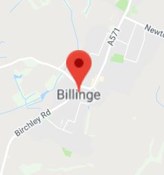Cropped Google Map with pin over Billinge