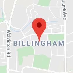 Cropped Google Map with pin over Billingham