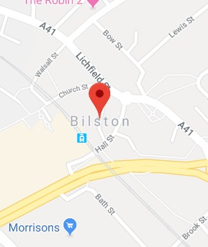 Cropped Google Map with pin over Bilston