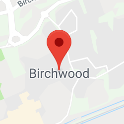 Cropped Google Map with pin over Birchwood