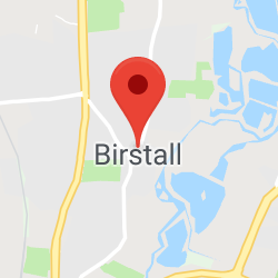 Cropped Google Map with pin over Birstall