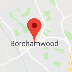 Cropped Google Map with pin over Borehamwood