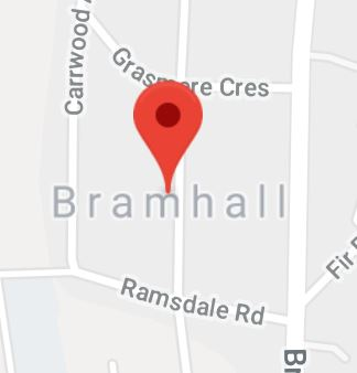 Cropped Google Map with pin over Bramhall