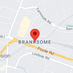 Cropped Google Map with pin over Branksome