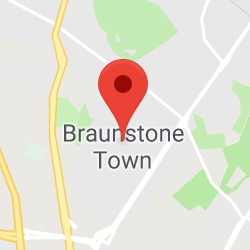 Cropped Google Map with pin over Braunstone Town
