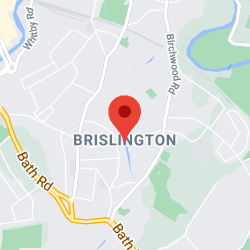 Cropped Google Map with pin over Brislington