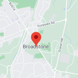 Cropped Google Map with pin over Broadstone