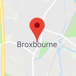 Cropped Google Map with pin over Broxbourne