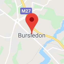 Cropped Google Map with pin over Bursledon