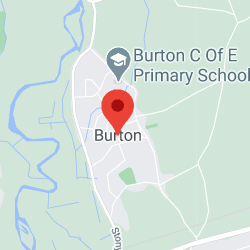 Cropped Google Map with pin over Burton
