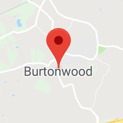 Cropped Google Map with pin over Burtonwood
