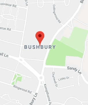 Cropped Google Map with pin over Bushbury