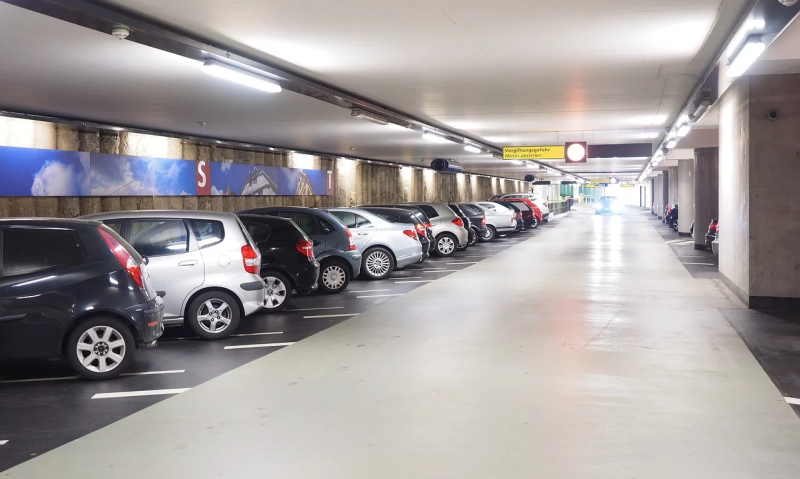 Cars parked in an indoor car park