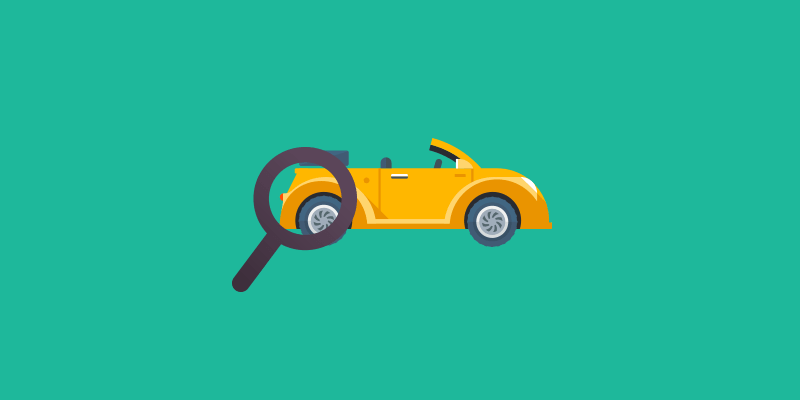 Cartoon car and magnifying glass