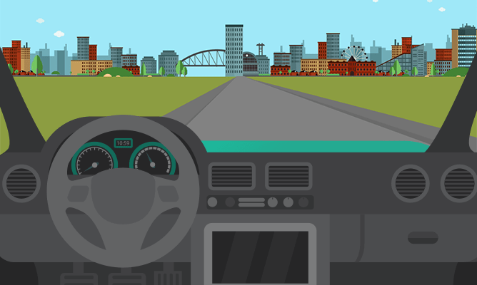 An illustration of a landscape view from the windscreen of a car.
