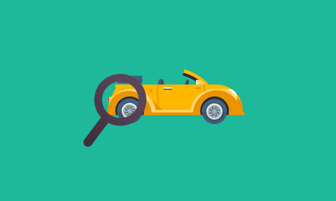 An illustration of a magnifying glass over a yellow car.