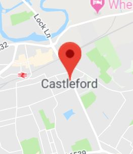 Cropped Google Map with pin over Castleford