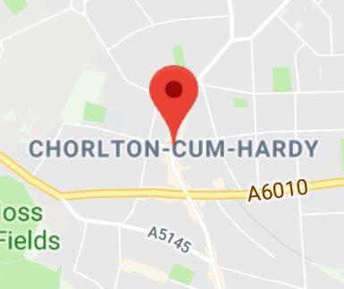 Cropped Google Map with pin over Chorlton