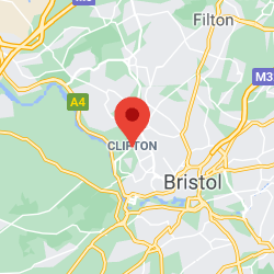 Cropped Google Map with pin over Clifton