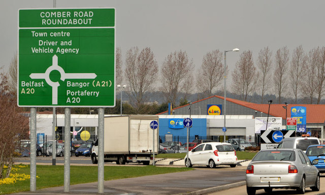 Comber Road Roundabout featuring sign pointing towards the Driver and Vehicle Agency