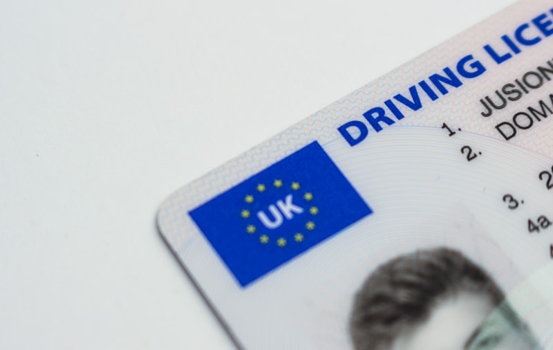 Corner of a UK driving licence
