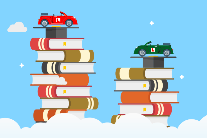 stacks of books with cars on top