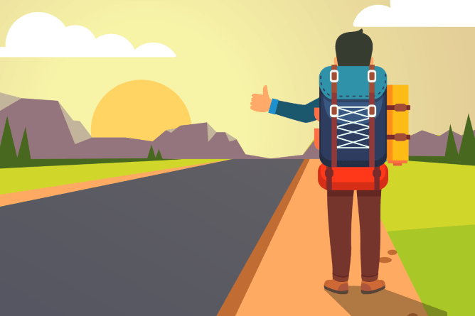Hitchhiker next to a sunny road