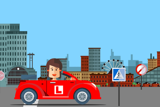 woman driving through city