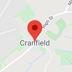 Cropped Google Map with pin over Cranfield