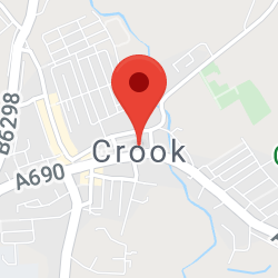 Cropped Google Map with pin over Crook