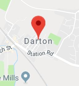 Cropped Google Map with pin over Darton