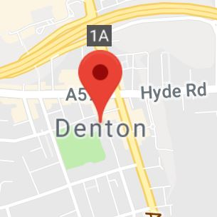 Cropped Google Map with pin over Denton