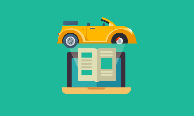 yellow car and book