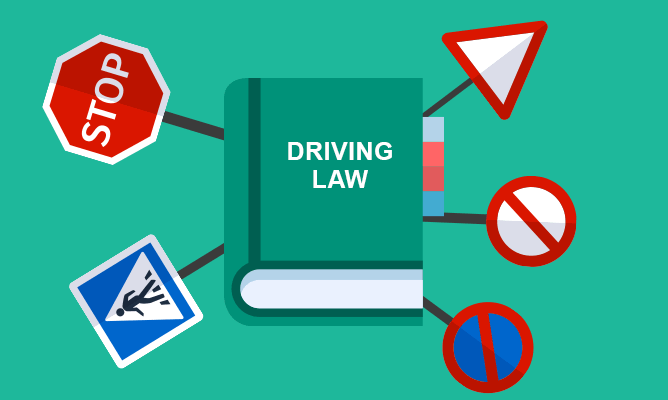 An illustration of driving law theory.