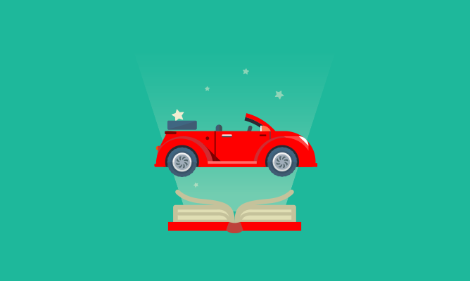 red car over a book cartoon